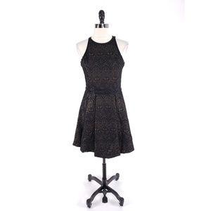 Parker Geo Metallic Fit Flare Mesh Back Dress